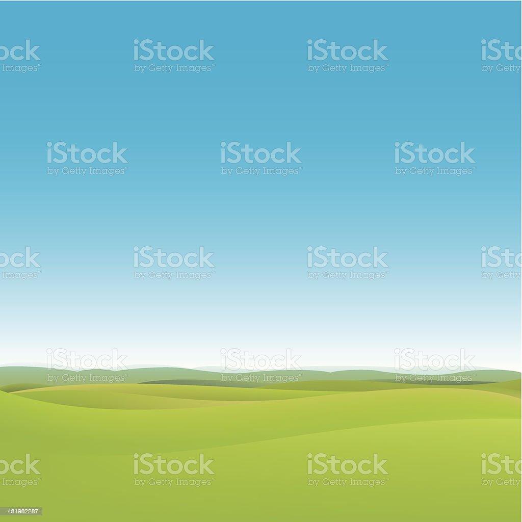Green fields background vector art illustration