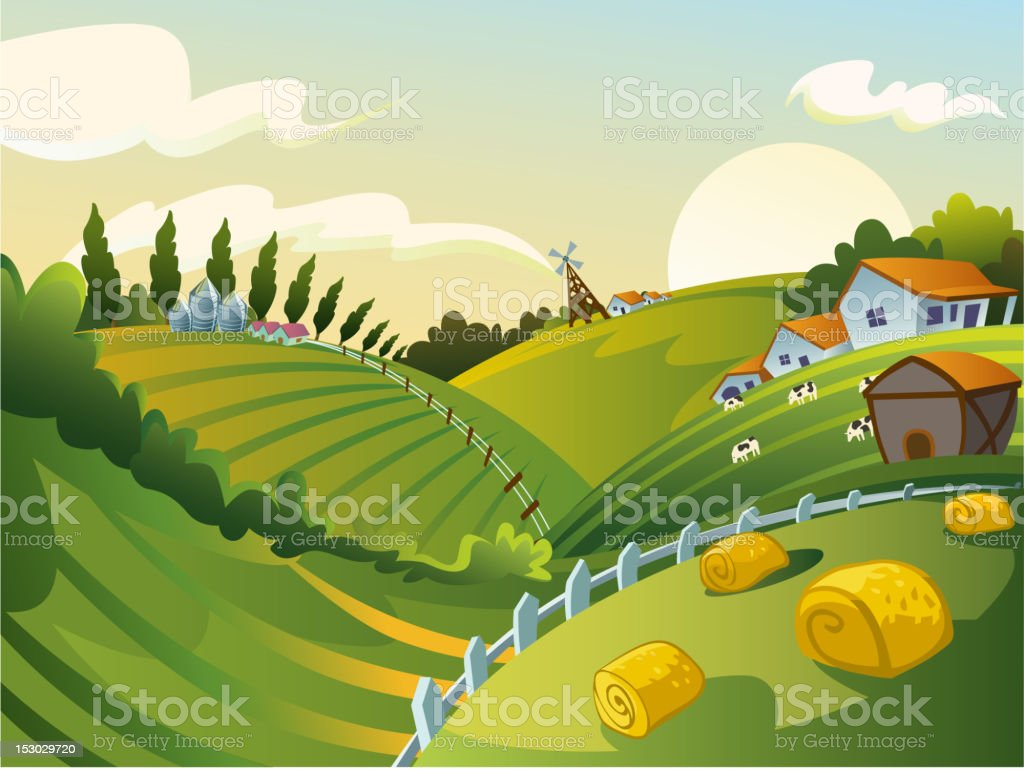 Green fields in a rural landscape vector art illustration