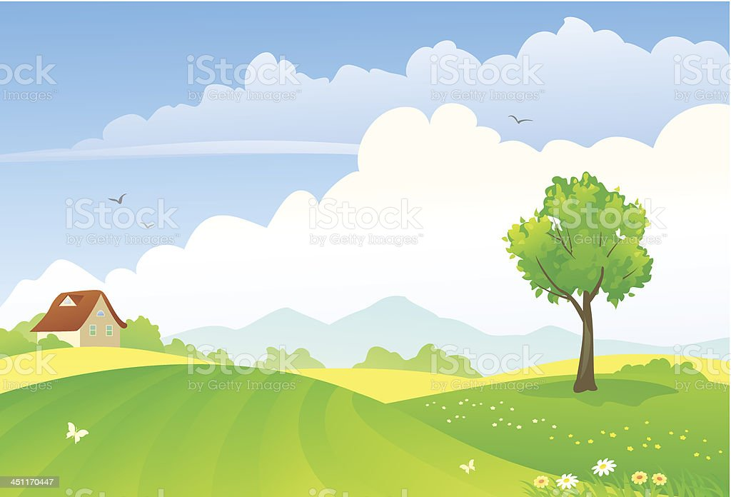Green fields royalty-free stock vector art
