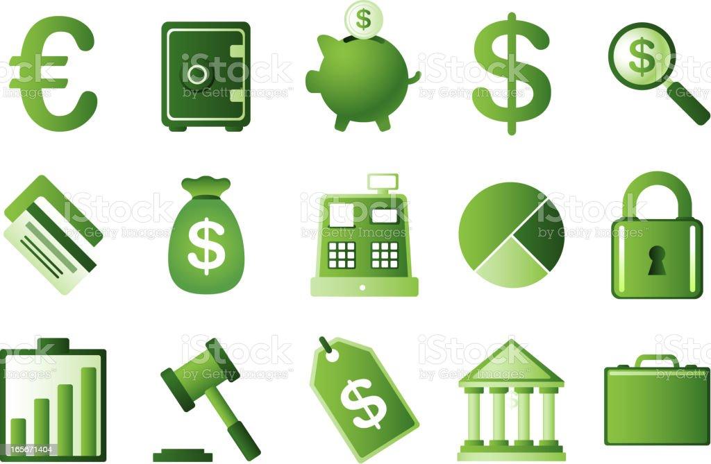 Green finance icon set savings euro dollar money piggy bank royalty-free stock vector art
