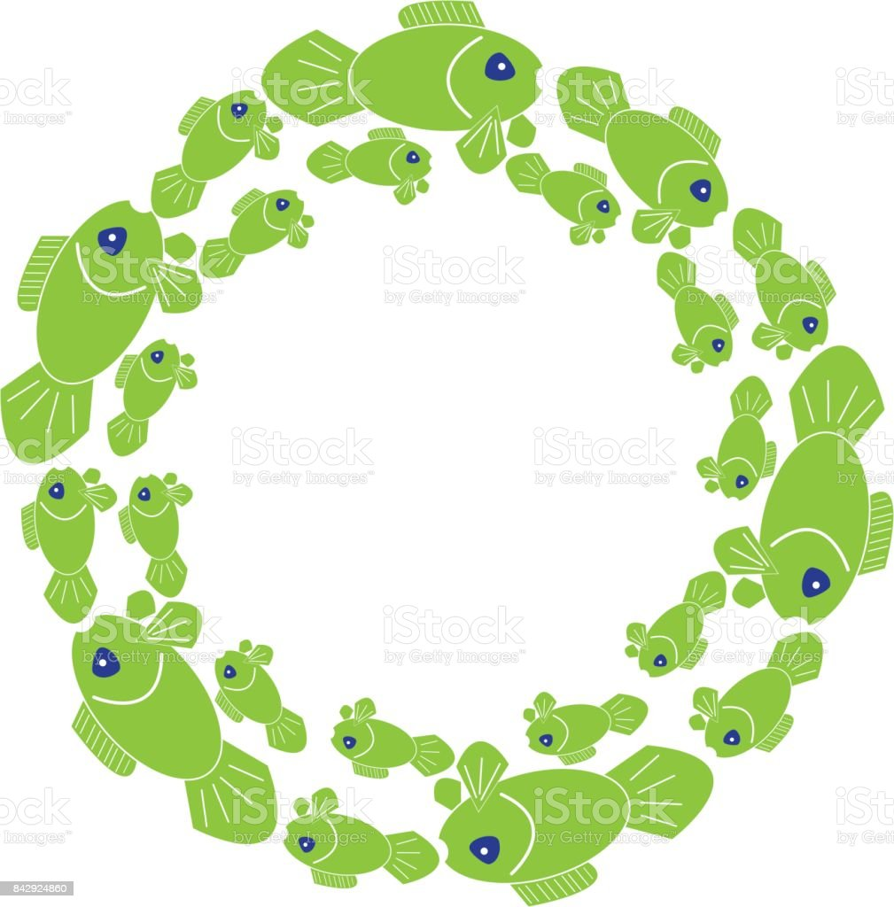Green fish in ring on white background. Vector illustration. vector art illustration