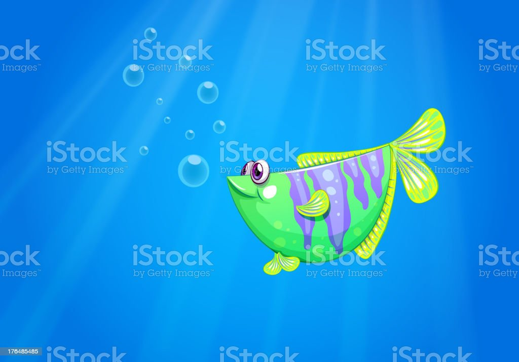 Green fish under the sea royalty-free stock vector art
