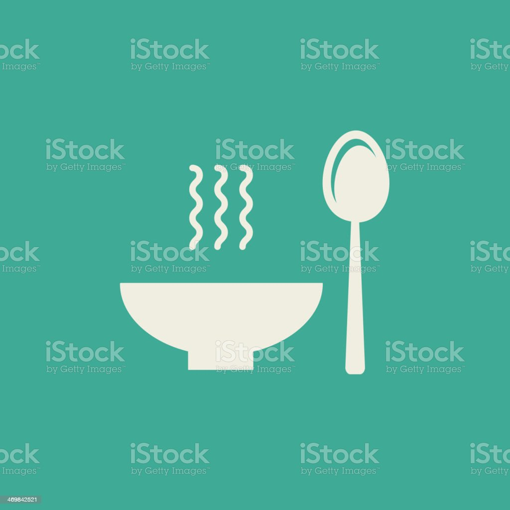 A green flat icon of a bowl and a spoon vector art illustration