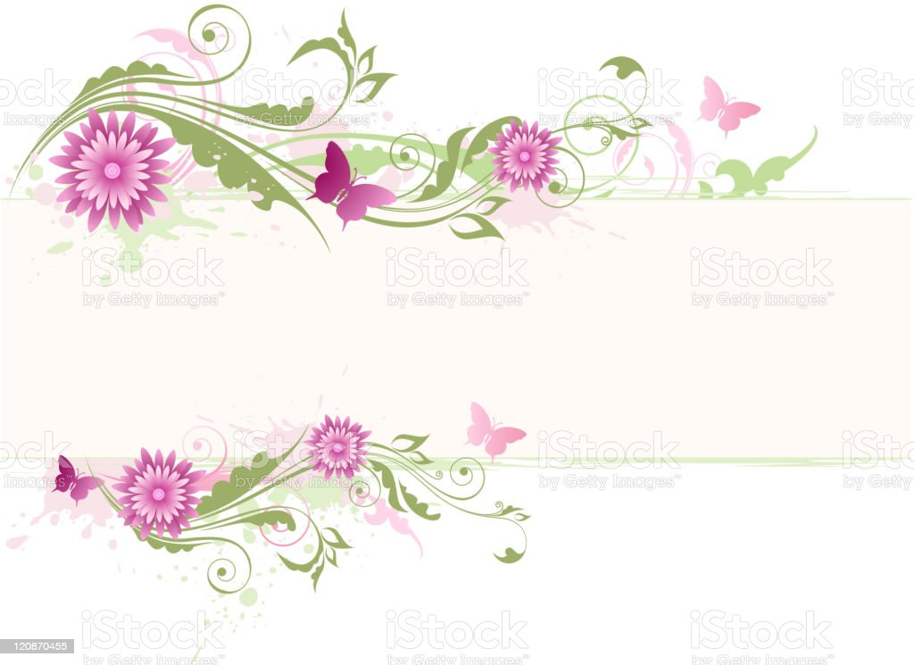 green floral background with pink flowers royalty-free stock vector art