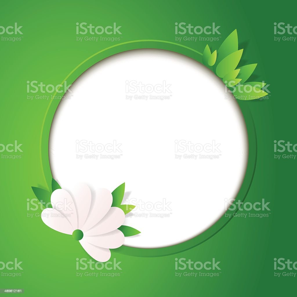 Green floral card with place for photo or text. royalty-free stock vector art