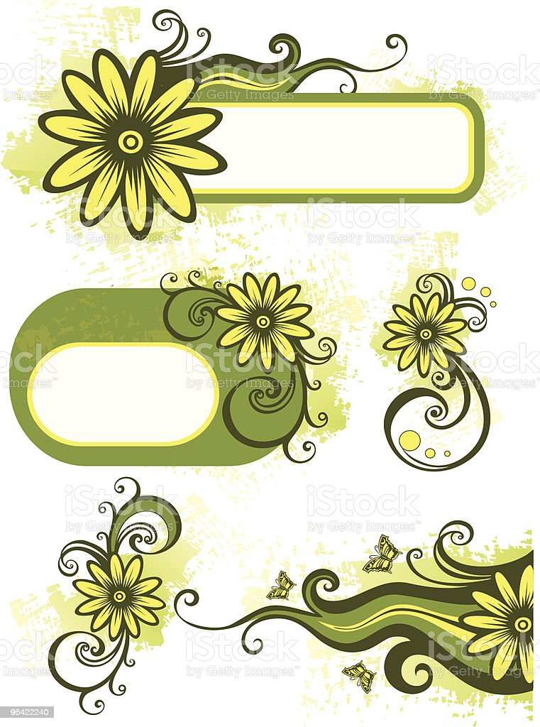 Green floral design elements royalty-free stock vector art