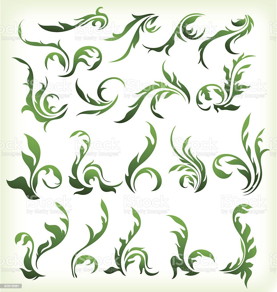 green floral elements royalty-free stock vector art