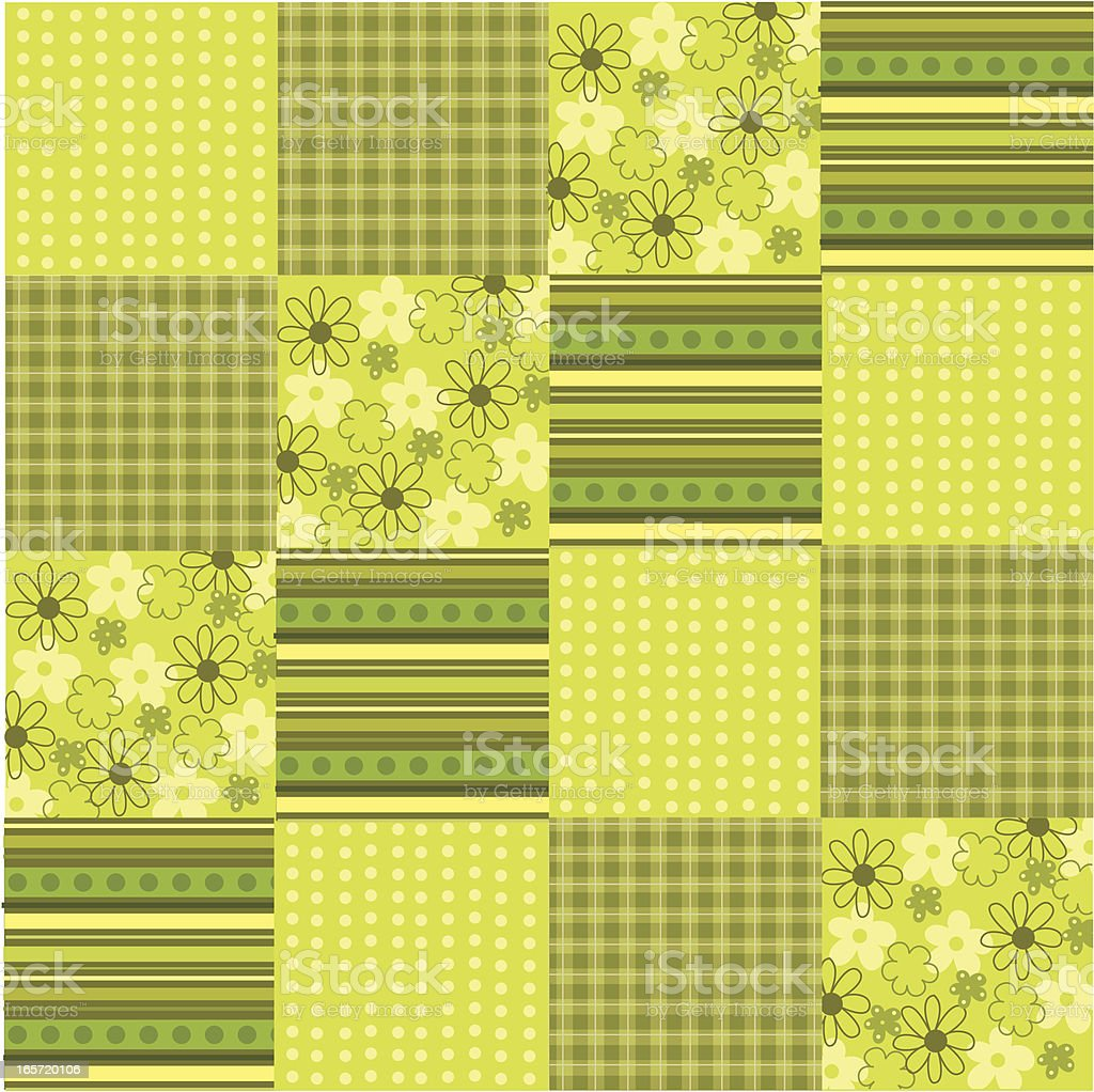 Green Floral Fabric Patchwork royalty-free stock vector art