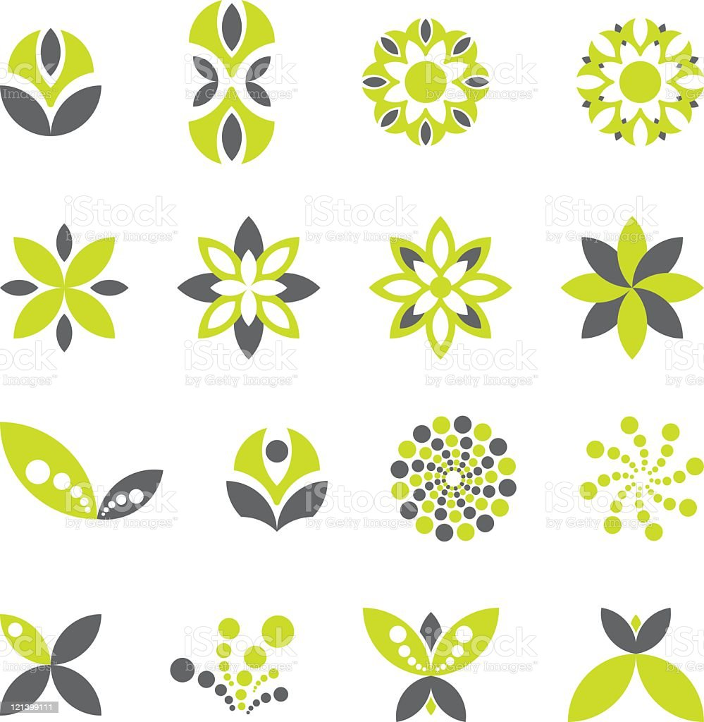 Green Floral Icons vector art illustration