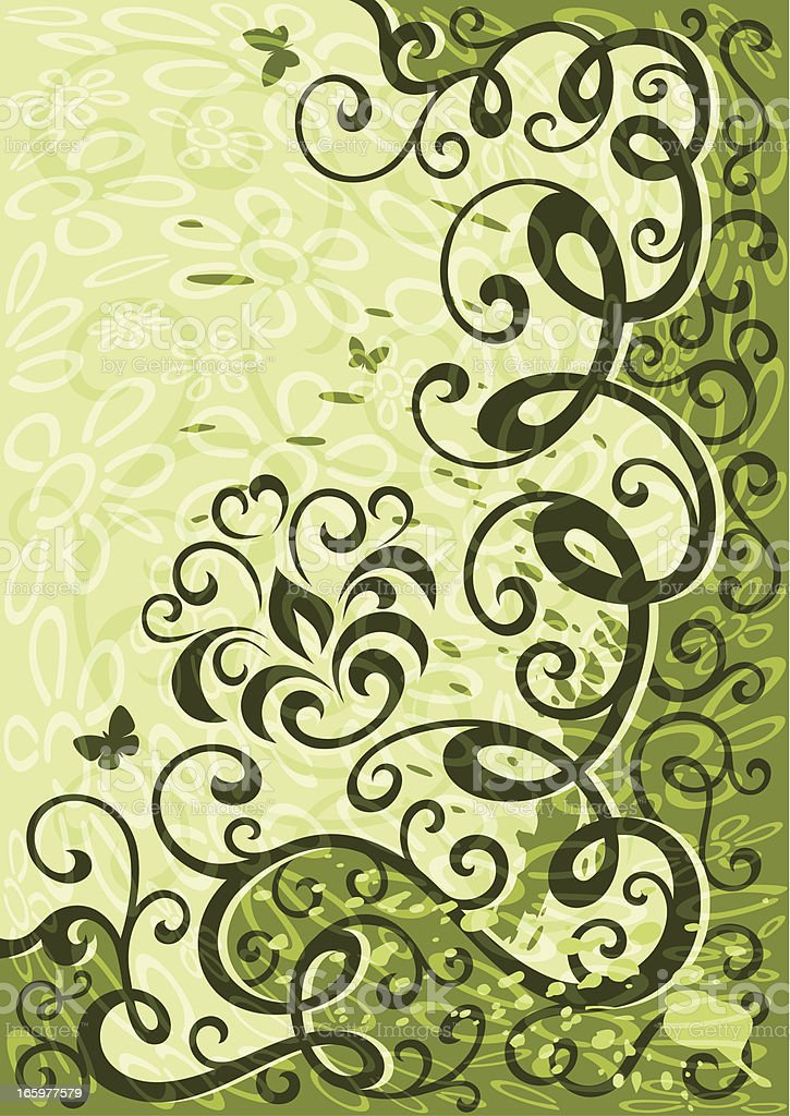 Green floral illustration royalty-free stock vector art