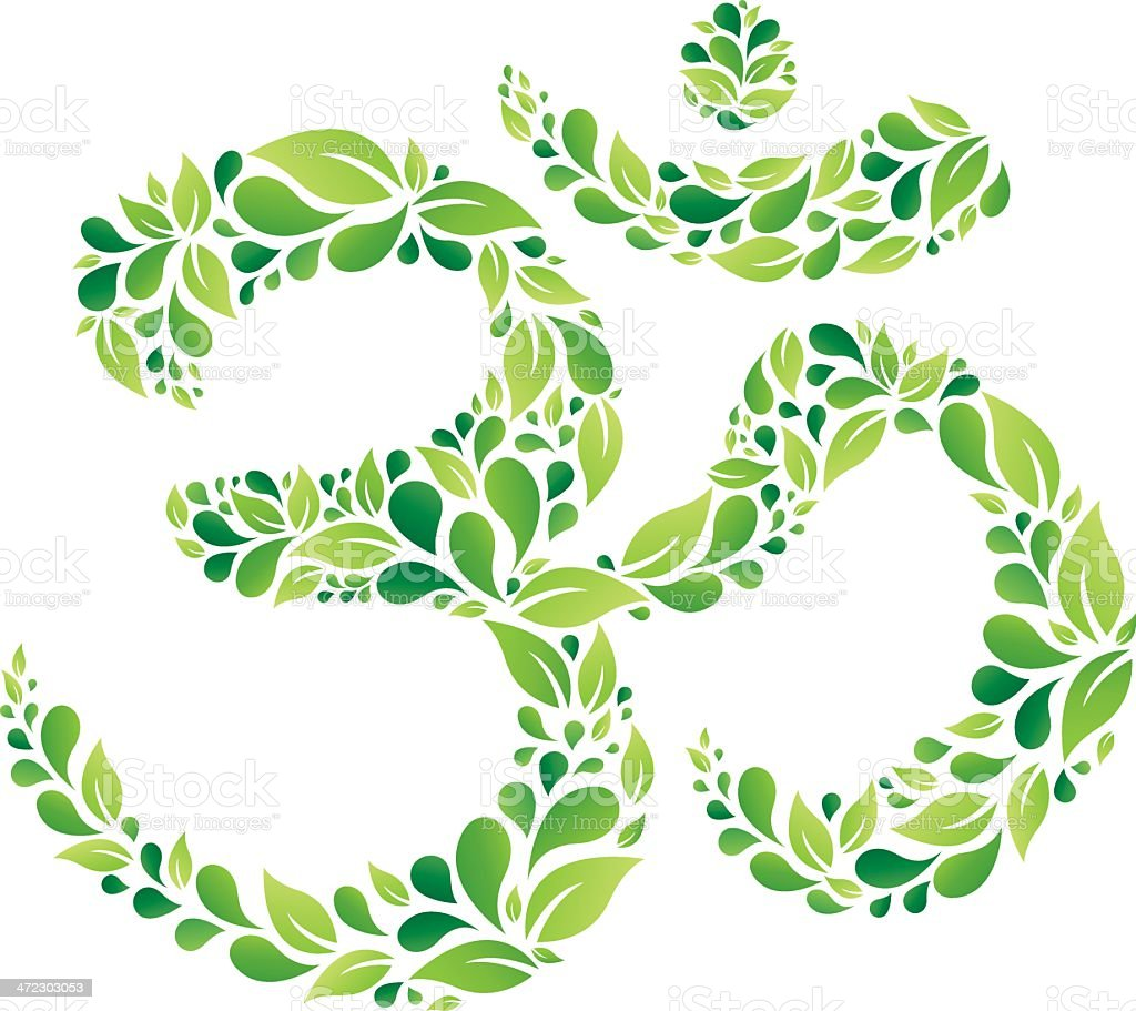 Green Floral Om Symbol vector art illustration