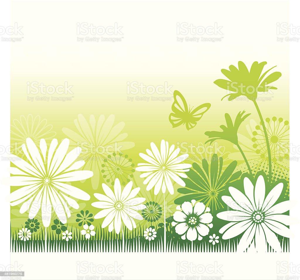 Green flower background vector art illustration