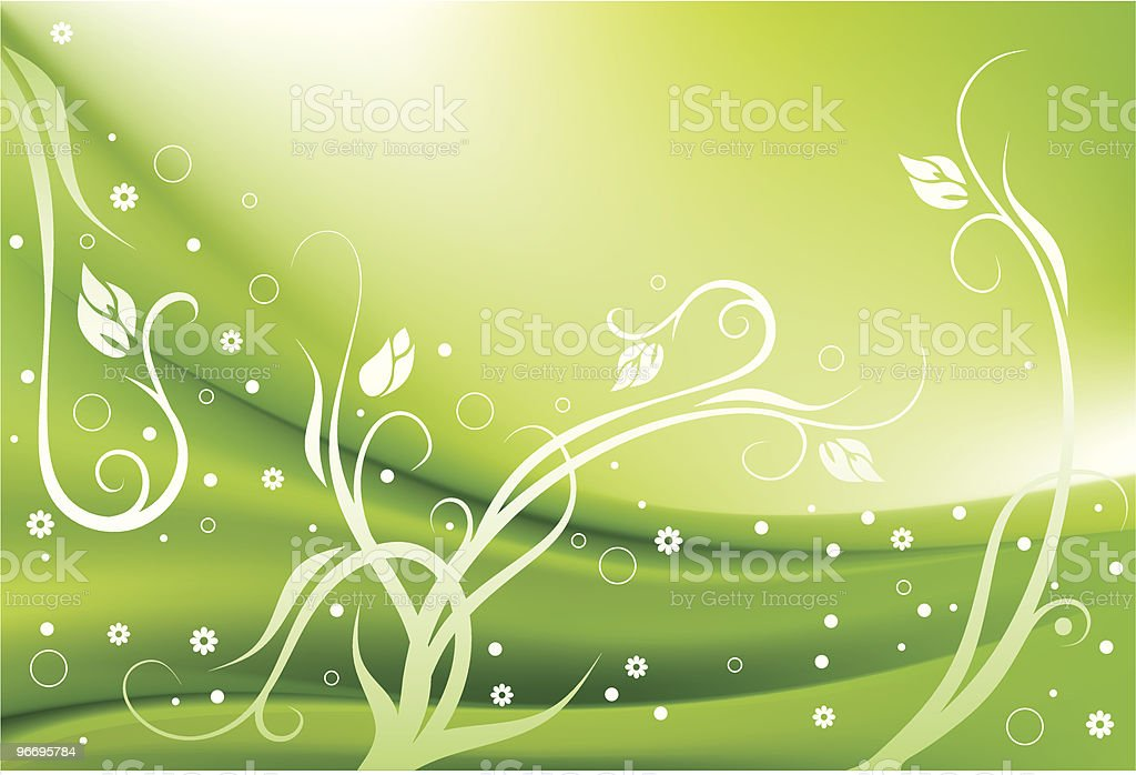 Green Flowered Background royalty-free stock vector art