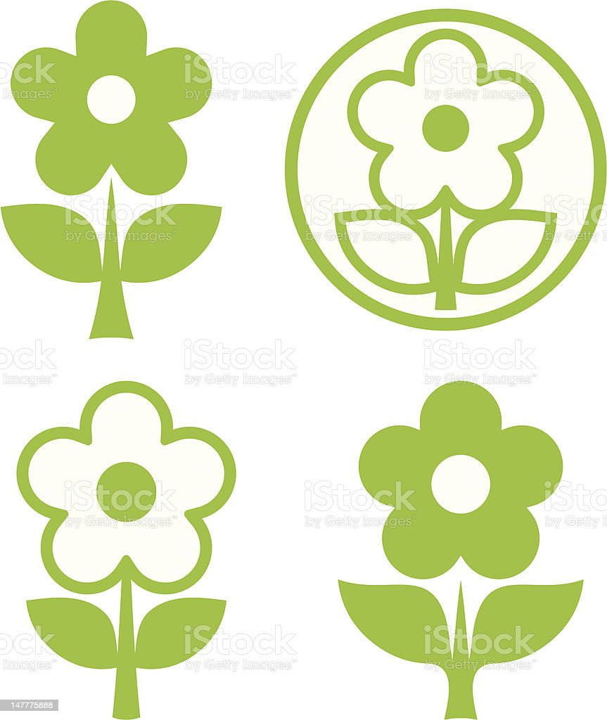 Green flowers vector icons royalty-free stock vector art