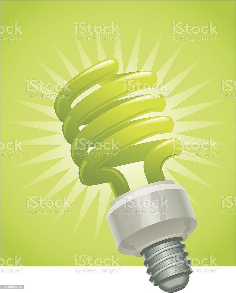 Green fluorescent bulb royalty-free stock vector art