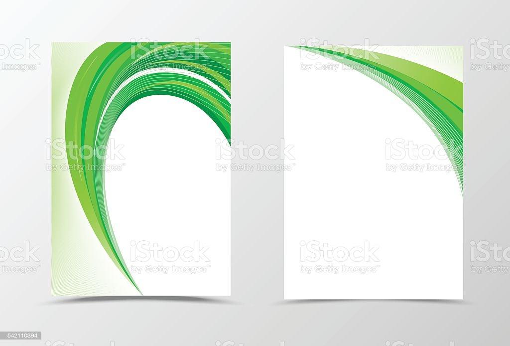 Green flyer template design vector art illustration