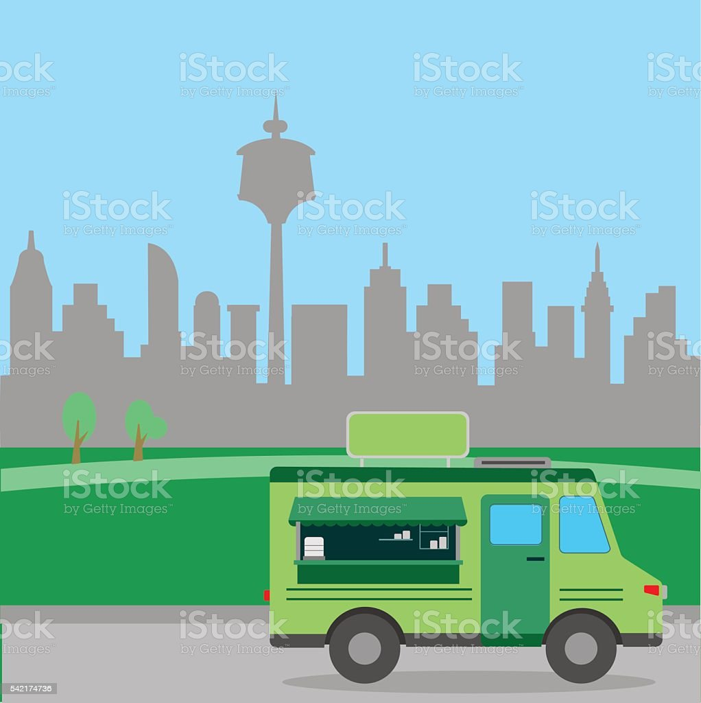 Green food mobile store with city background vector art illustration