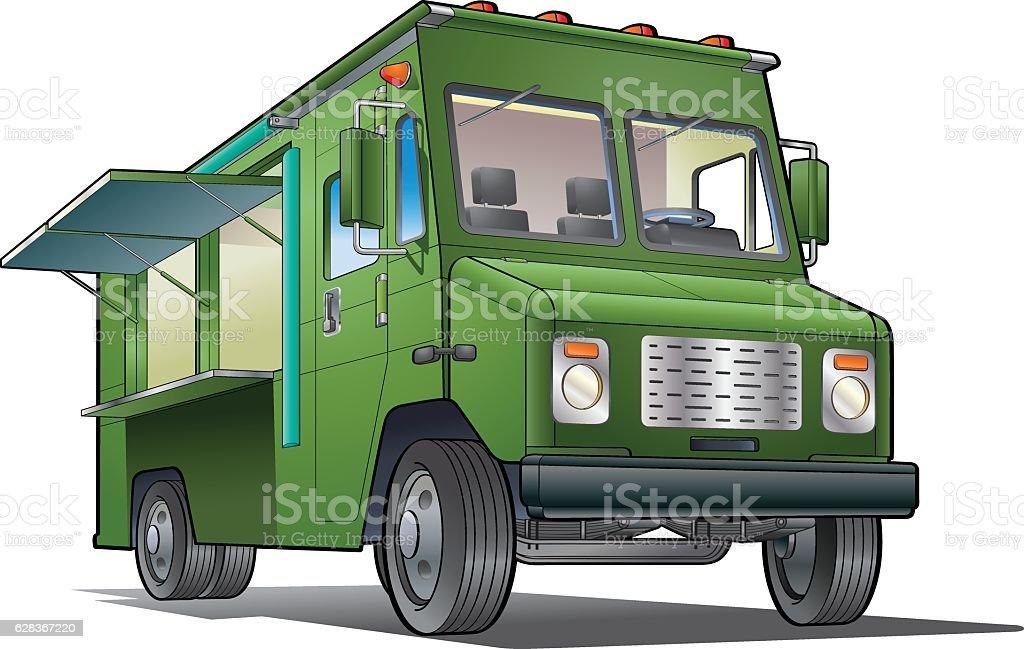 Green food truck vector art illustration