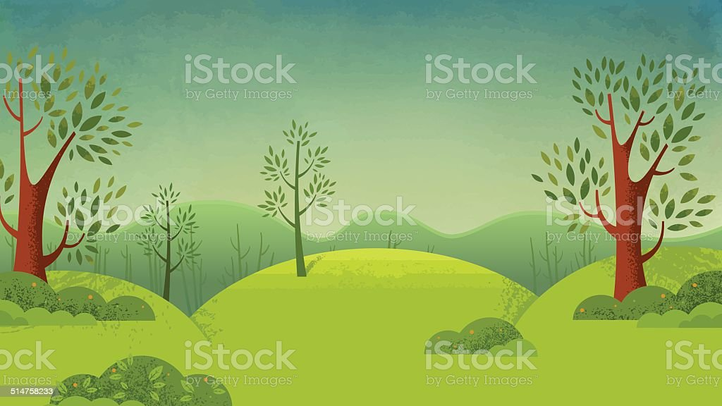 Green forest in a country landscape vector art illustration