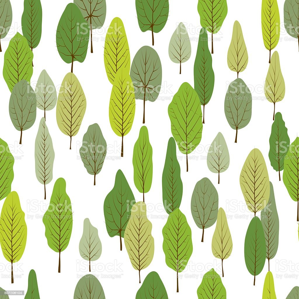 Green forest  seamless pattern vector art illustration