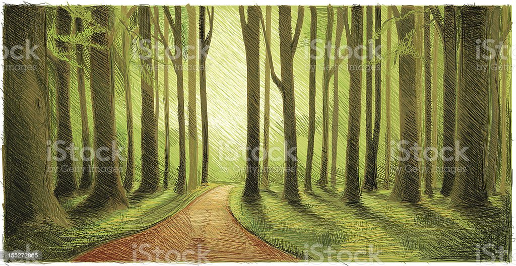 green forest walk royalty-free stock vector art