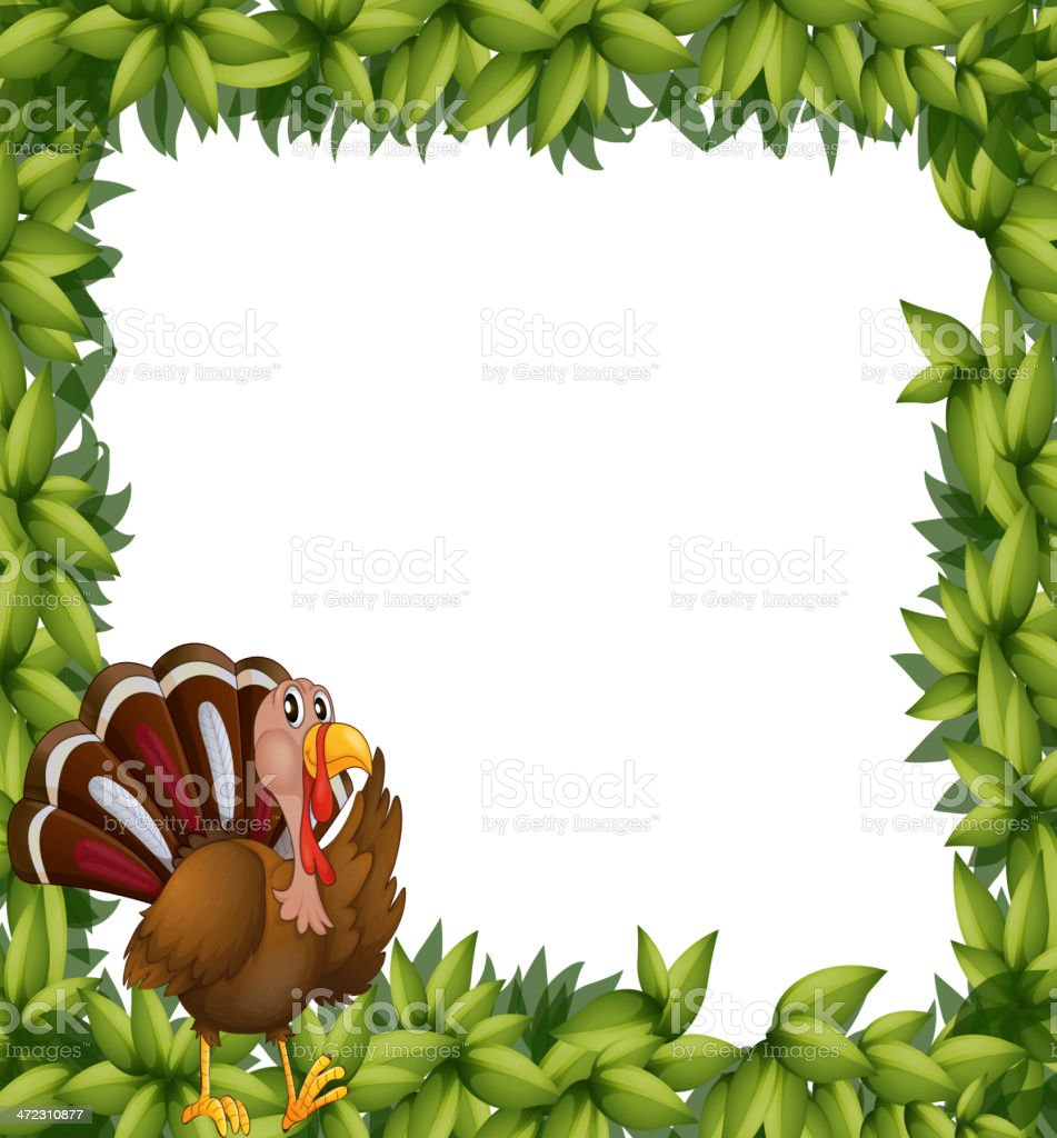 Green frame border with a turkey royalty-free stock vector art