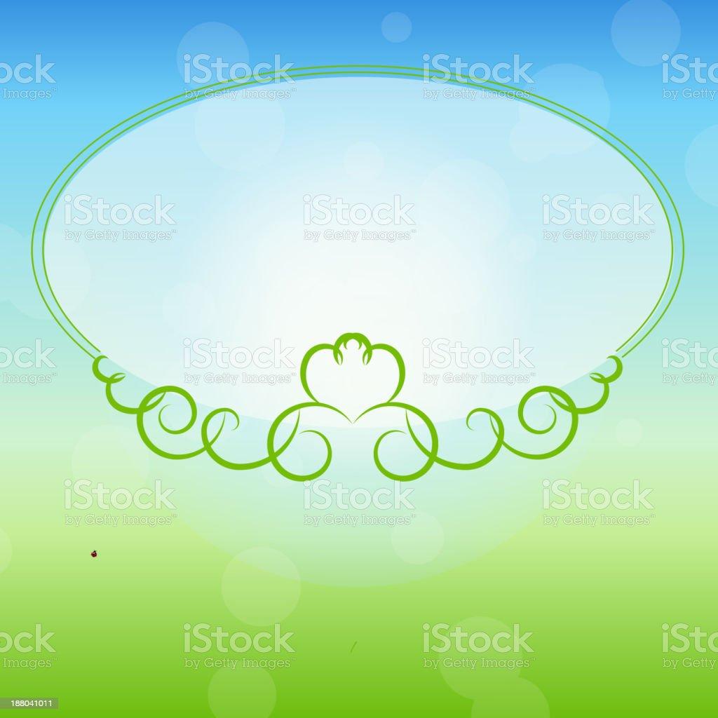 Green frame on nature background. Vector illustration. royalty-free stock vector art