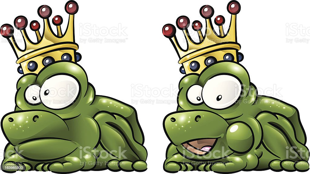 Green frog prince with golden crown (vector) royalty-free stock vector art
