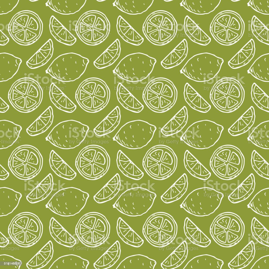 Green Fruit background. Hand drawn doodle Lime seamless pattern. vector art illustration