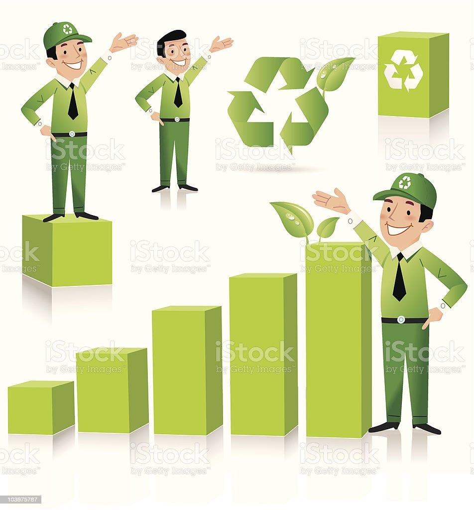 Green Gary's Recycling royalty-free stock vector art