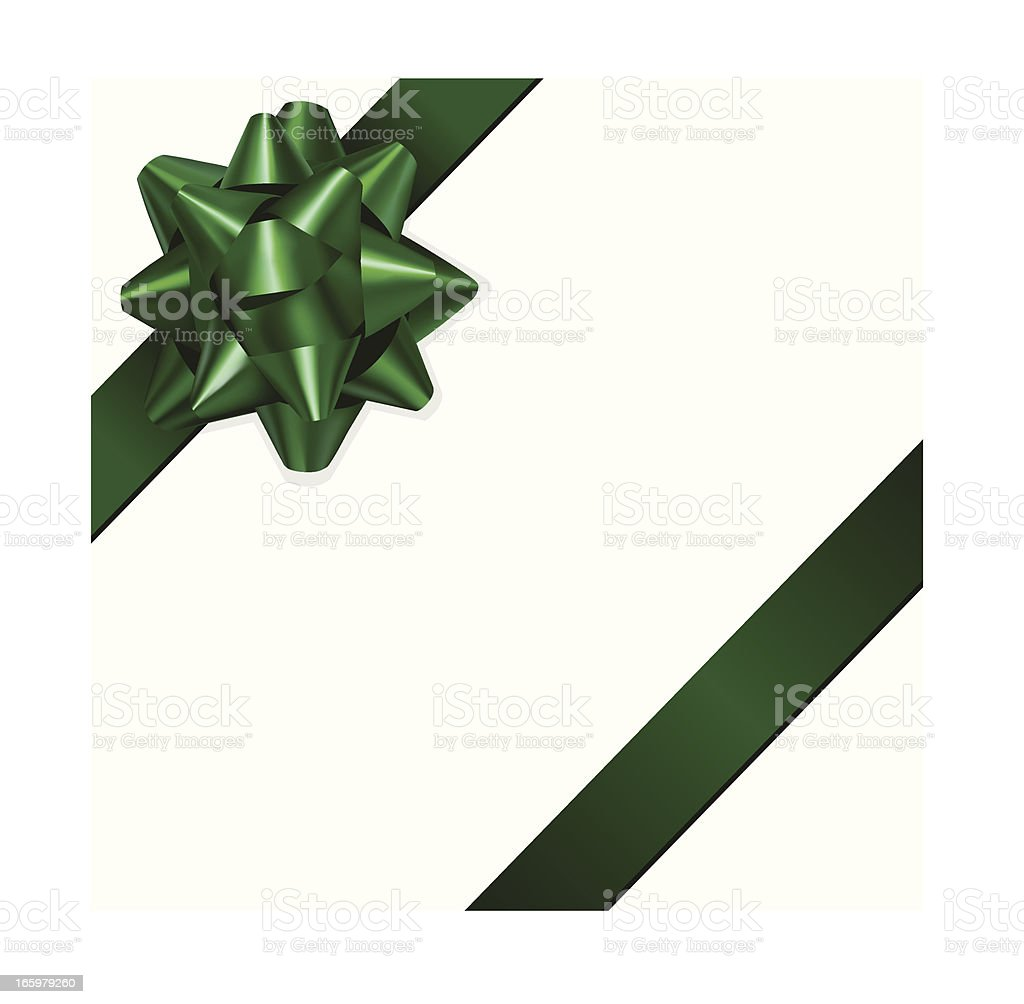 Green gift bow in front of a white background vector art illustration