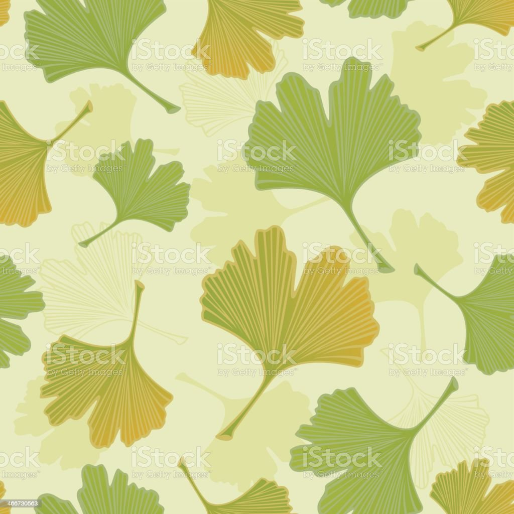 Green Ginkgo Leaves Beige Seamless Pattern Tile Background vector art illustration