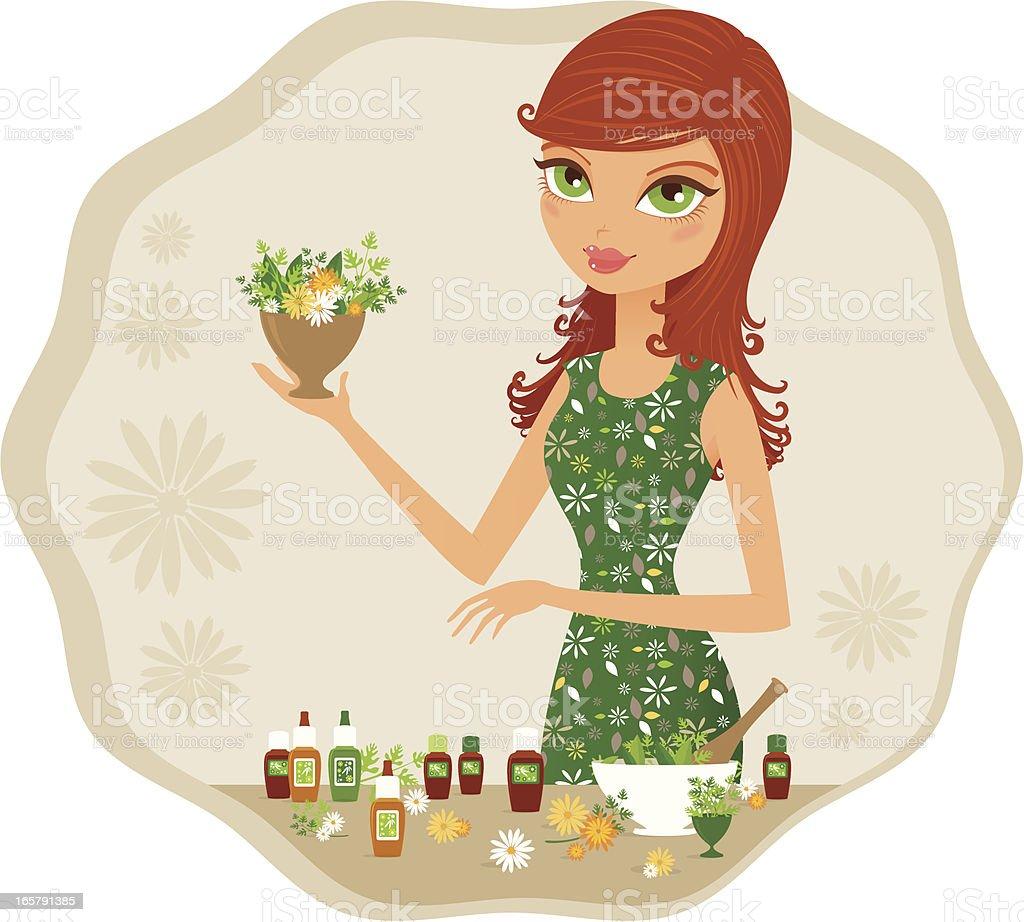 Green girl herborist vector art illustration