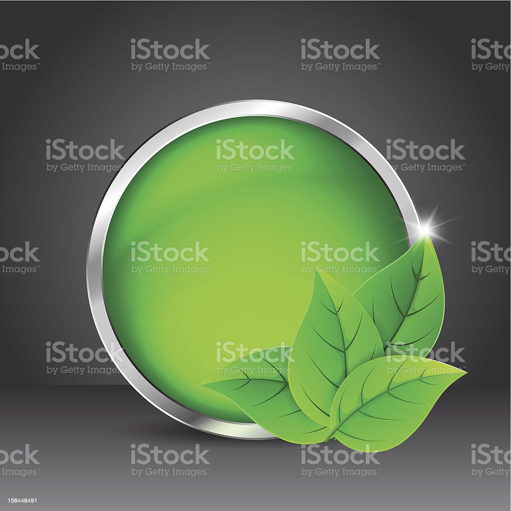 Green glass button with leaves royalty-free stock vector art