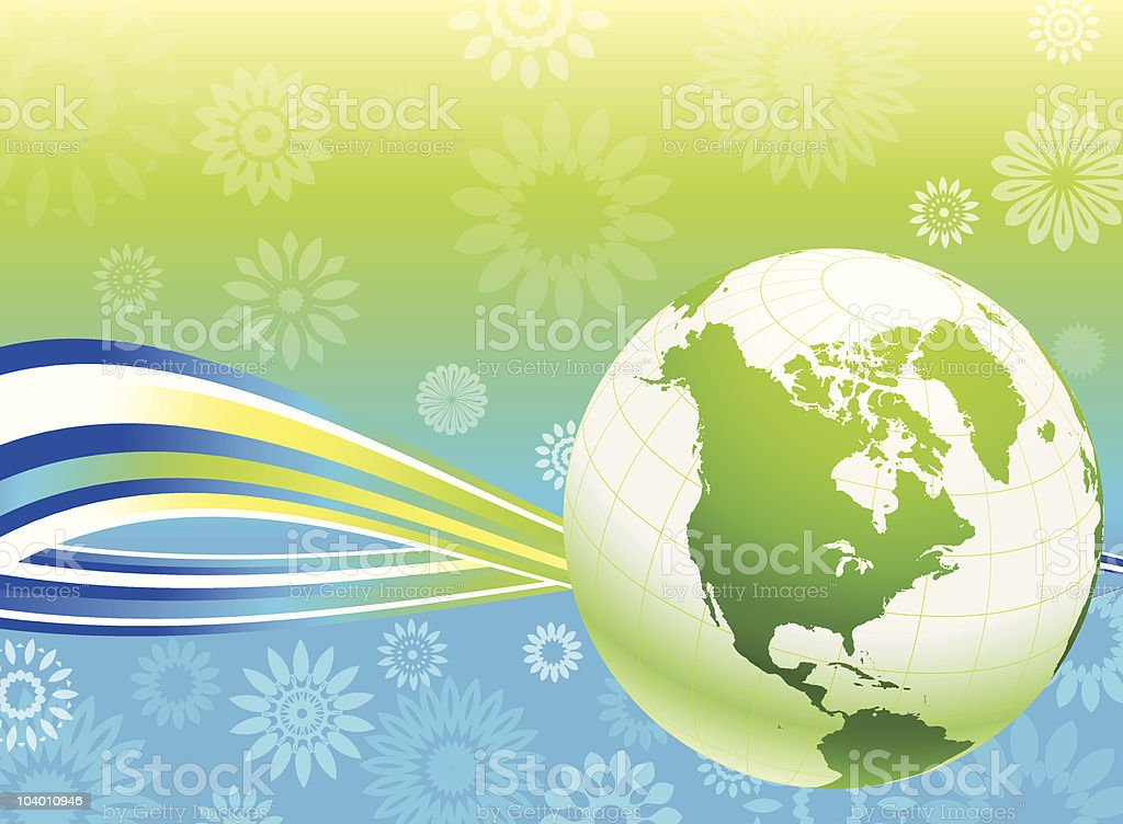 Green Globe on Summer floral background royalty-free stock vector art