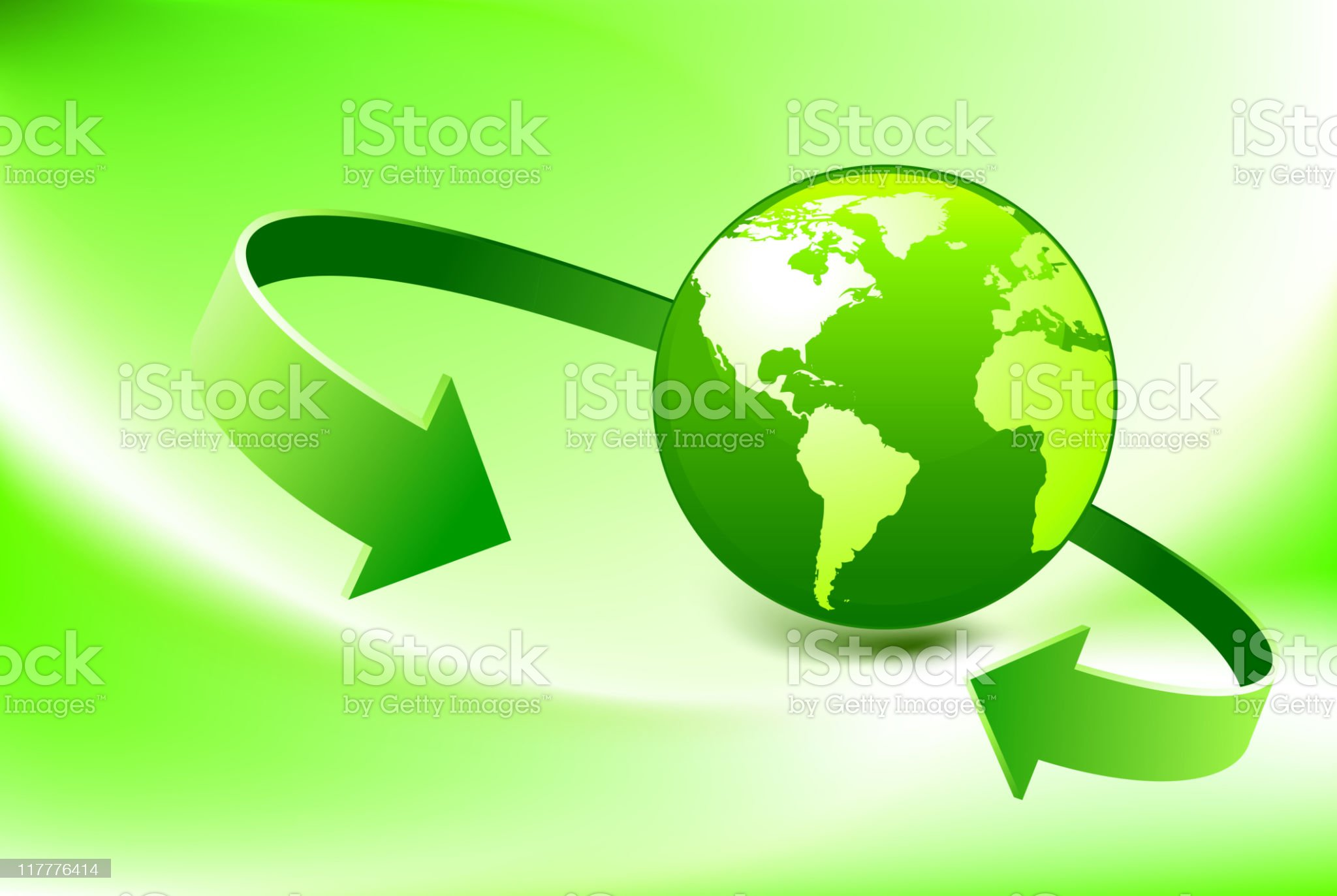 Green Globe with arrows meeting royalty-free stock vector art