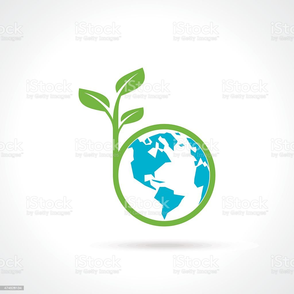 green globe with green tree america vector art illustration