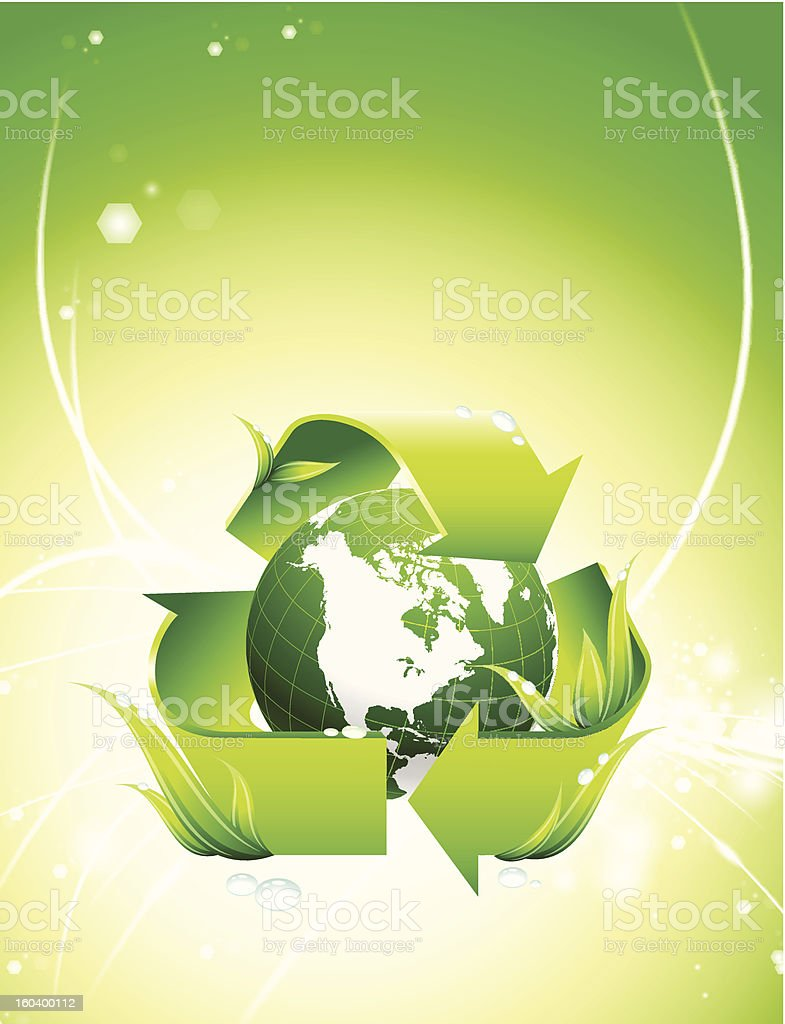 Green Globe with Recycle Symbol on Fiber Optic Background royalty-free stock vector art