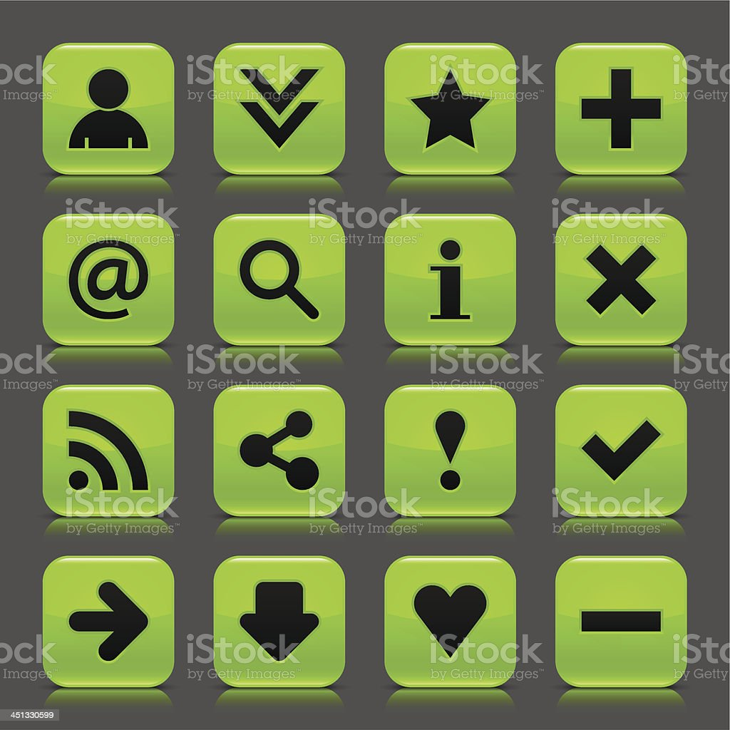 Green glossy icon basic sign square button gray background royalty-free stock vector art