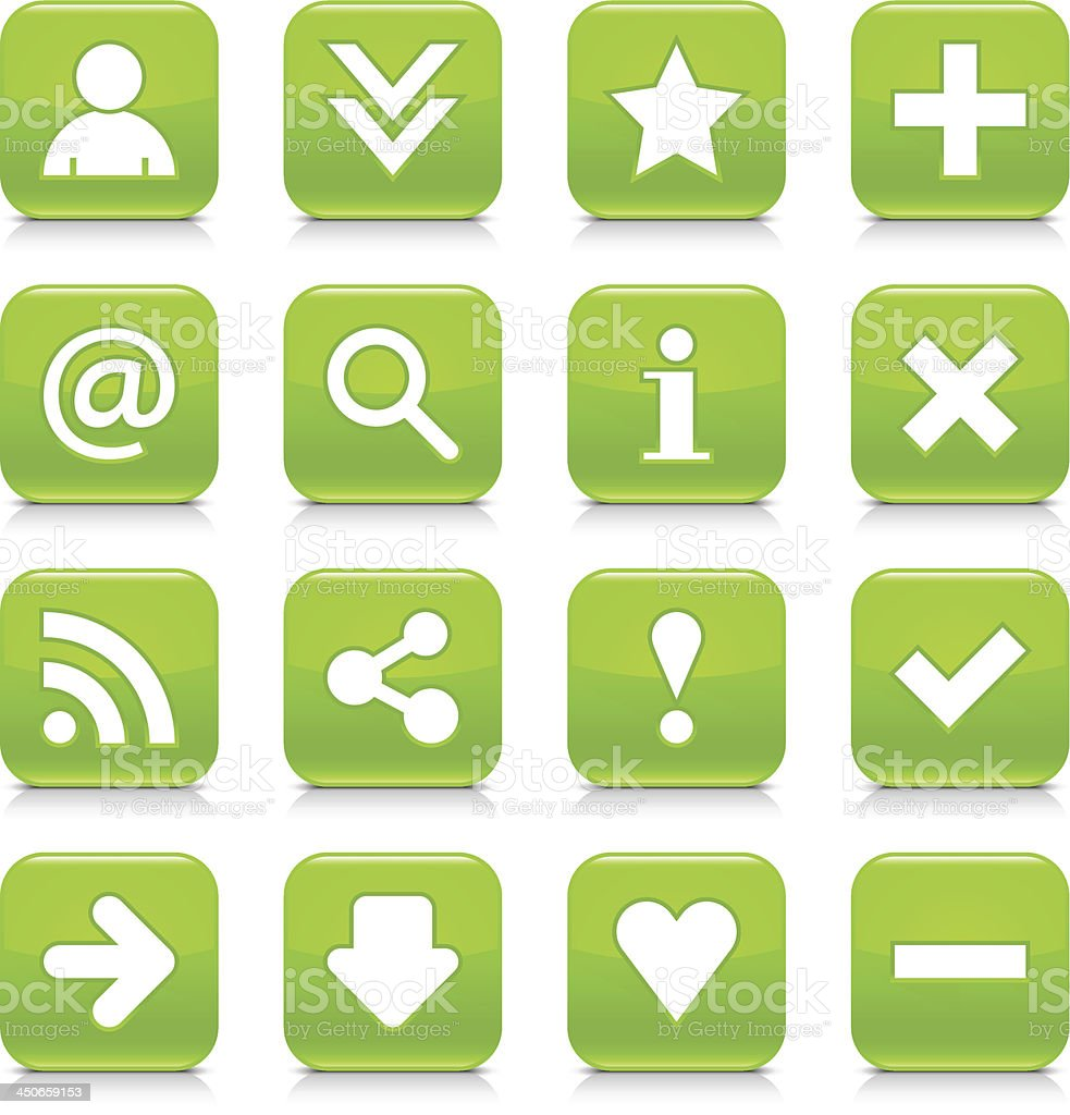 Green glossy icon white basic sign rounded square button royalty-free stock vector art