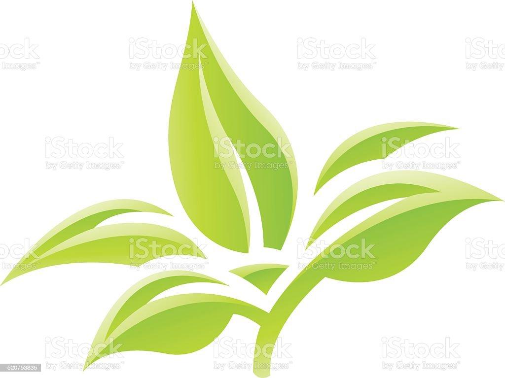 Feuilles vert brillant icône stock vecteur libres de droits libre de droits