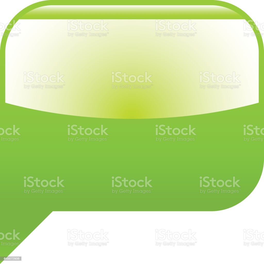 Green glossy speech bubble blank location icon vector art illustration