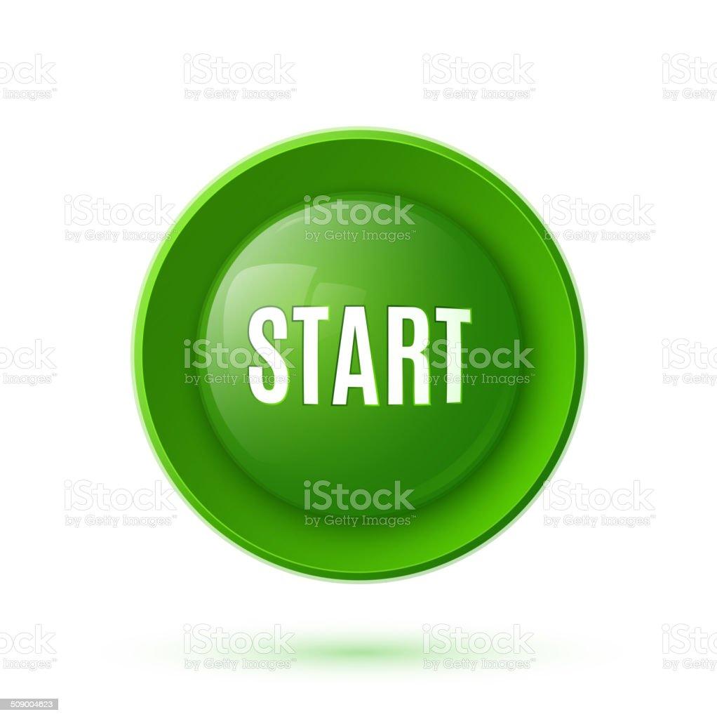 Green glossy start button icon vector art illustration