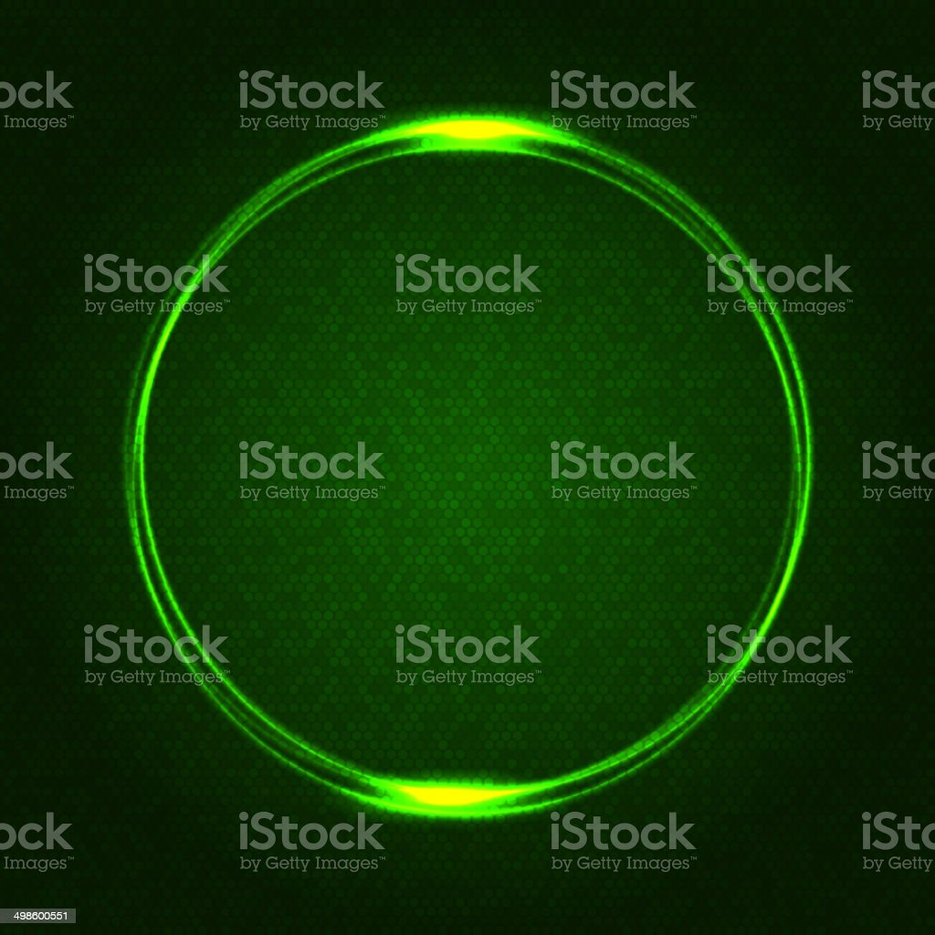 Green Glowing Rings on Dark Dotted Abstract Background. Vector royalty-free stock vector art