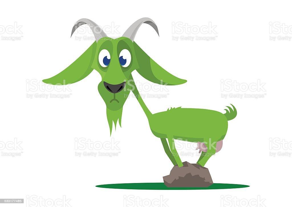 Green goat vector art illustration