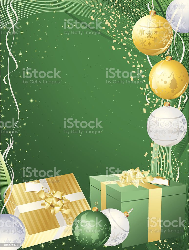 Green, Gold Christmas Present Vertical Background royalty-free stock vector art