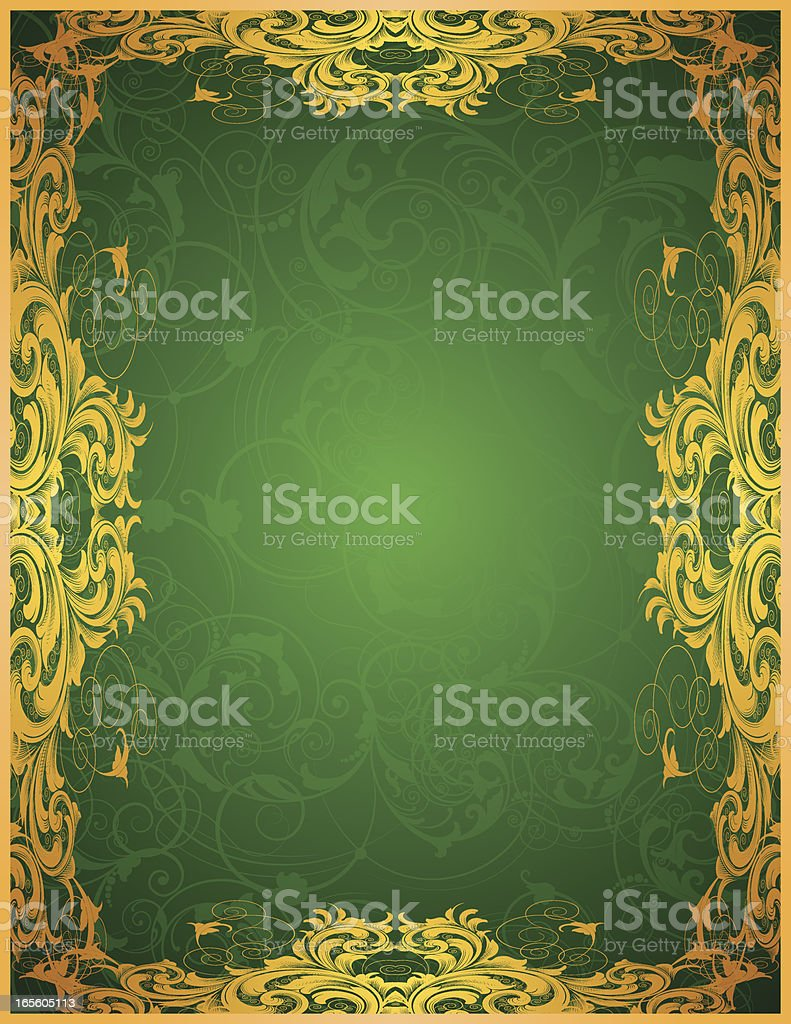 Green Gold Scrolling Frame royalty-free stock vector art