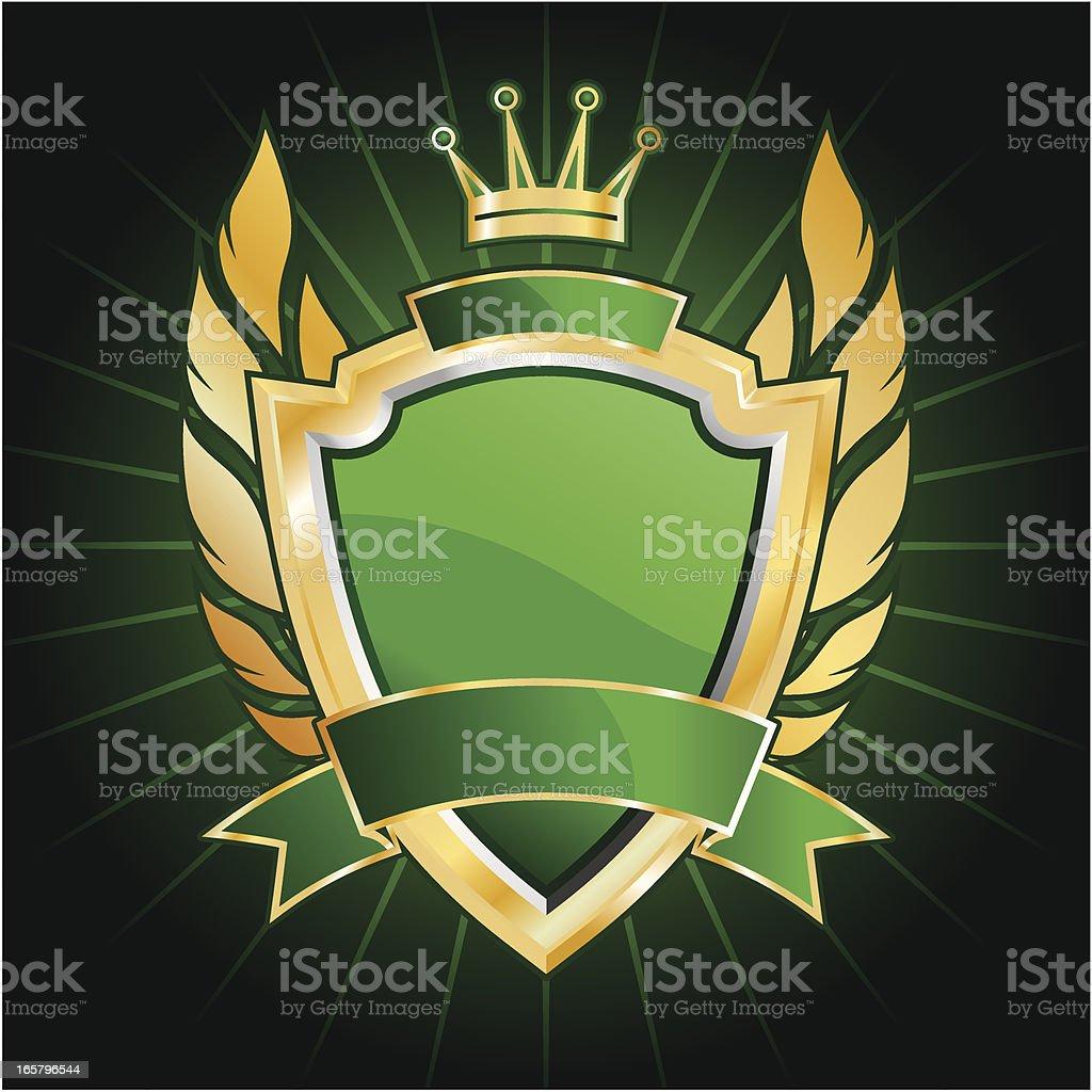 Green golden shield royalty-free stock vector art