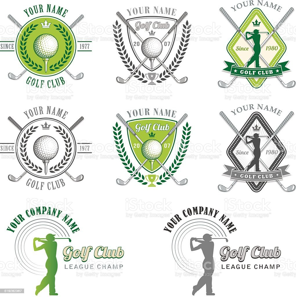 Green Golf Club Logo designs vector art illustration