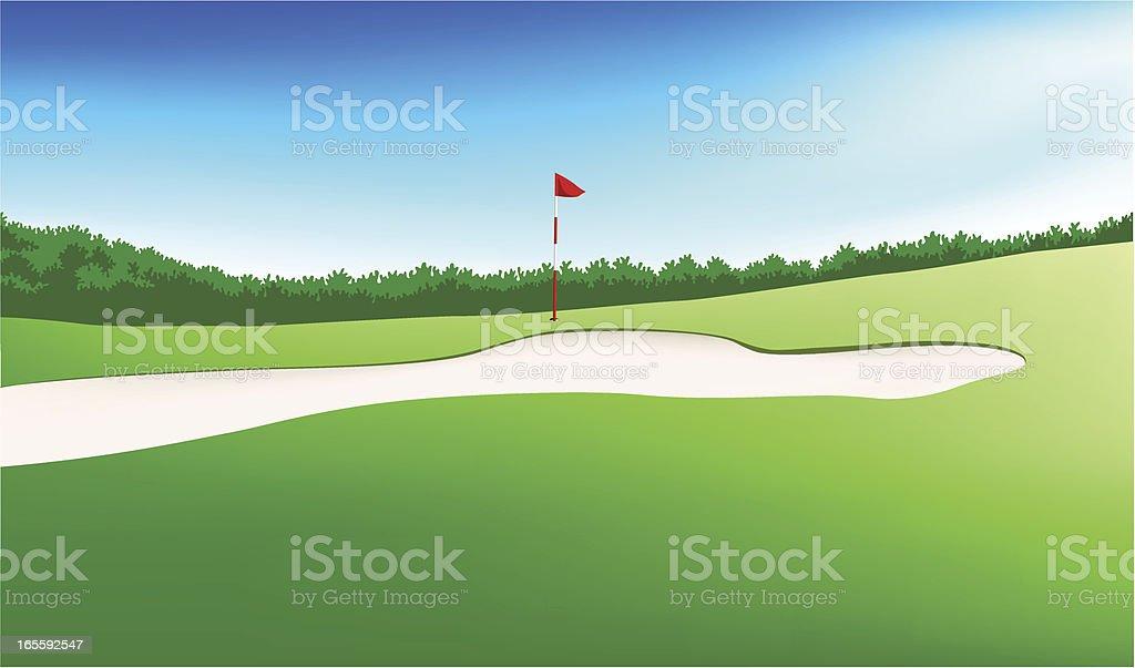 green golf field vector art illustration